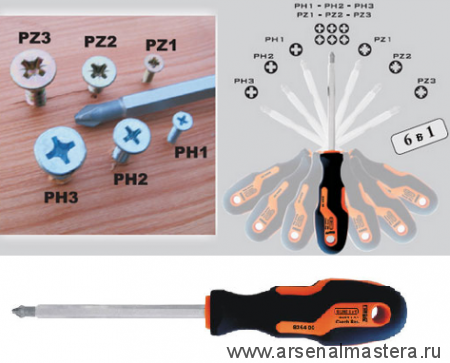 Универсальная отвертка NAREX S Line Profi PH1, PH2, PH3/PZ1, PZ2, PZ3 l(100) 836400