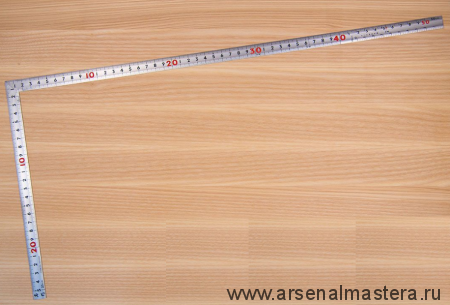 Угольник плоский Shinwa фигурный профиль 500х250мм отсчёт нижней шкалы - от наружнего угла М00013220