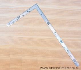 Угольник плоский Shinwa 300х150мм отсчёт нижней шкалы - от наружнего угла с шагом 5мм SS,CS М00013226