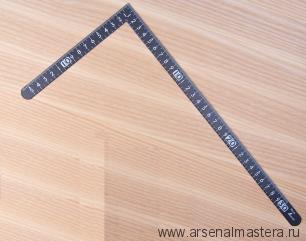 Угольник плоский Shinwa 300х150мм черный, отсчёт нижней шкалы - от наружнего угла с шагом 5мм М00013227