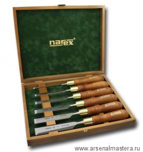 Набор из 6 плоских стамесок NAREX  PREMIUM (6, 10, 12, 16, 20, 26 мм) в деревянном кейсе 853200